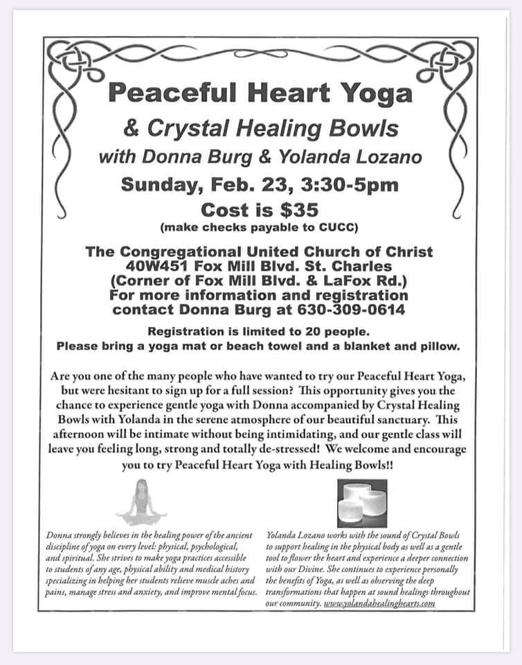 Peaceful Heart Yoga and Crystal Bowls flyer