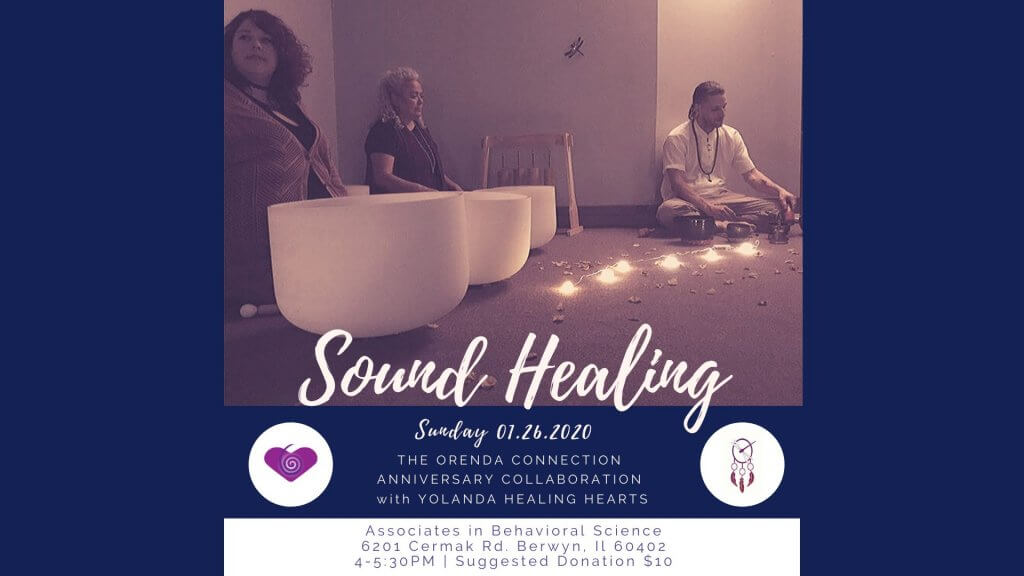 Sound Healing celebration image and flyer